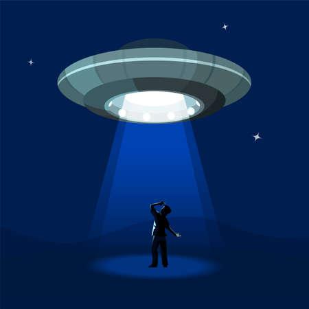 astronave Aliens rapisce l'uomo sotto la nube di notte, colorato illustrazione vettoriale piatta