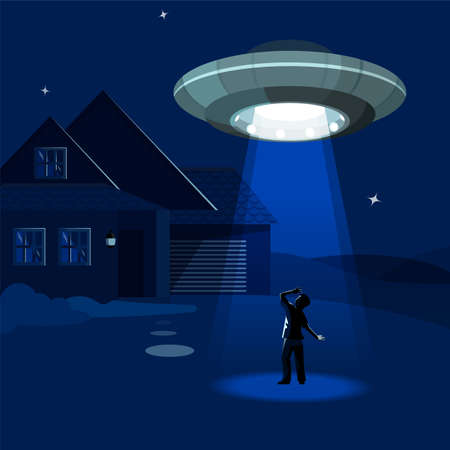 Aliens spaceship abducts the man under cloud of night, colorful flat vector illustration Illustration