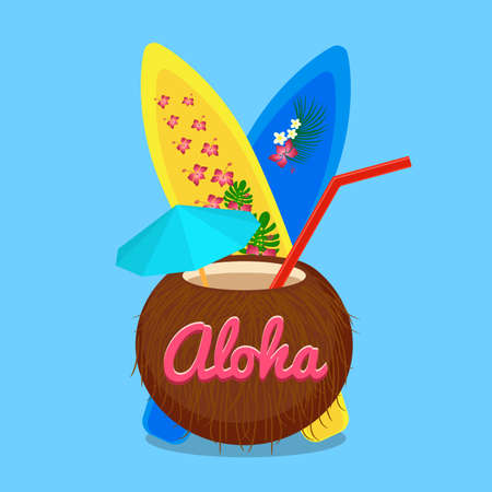 carefree: Aloha Hawaii carefree happy life, colorful vector flat illustration