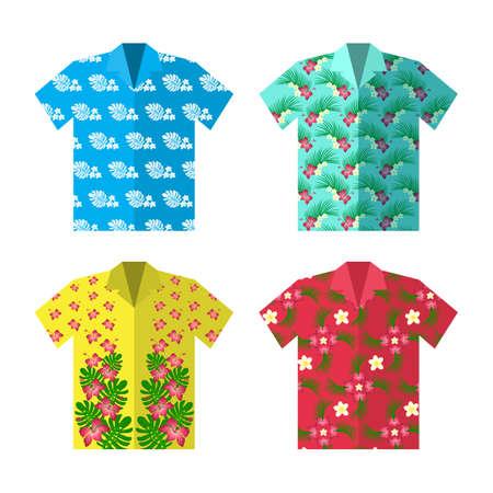アロハ幸せな屈託のない休暇のハワイアン シャツ。カラフルなベクトルの平面図。  イラスト・ベクター素材