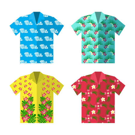 Aloha Hawaiian shirt for happy carefree vacation. Colorful vector flat illustration.