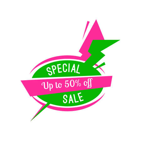 Special offer sale tag discount isolated on white background modern style vector illustration