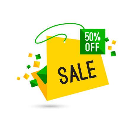 Colorful advertising sale banner. 50 percent off. Vector illustration Illustration