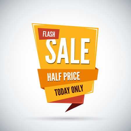 sale sticker: Colorful advertising flash sale banner. Half price. Today only. Vector illustration.