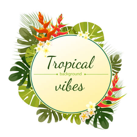 tropical flower: Colorful tropical flower, plant and leaf pattern background. Illustration