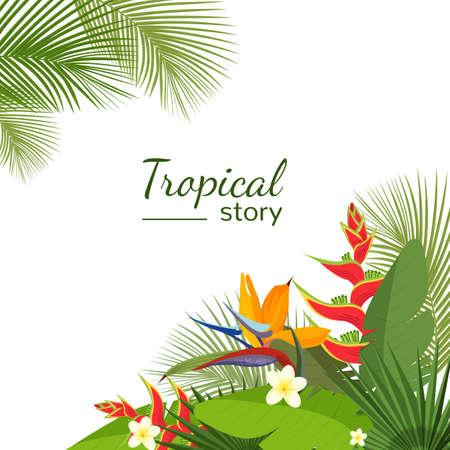 Colorful tropical flower, plant and leaf pattern background. Illustration