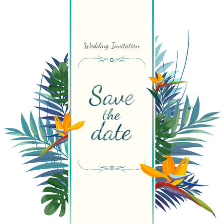 Wedding invitation card. Save the date. Colorful illustration.