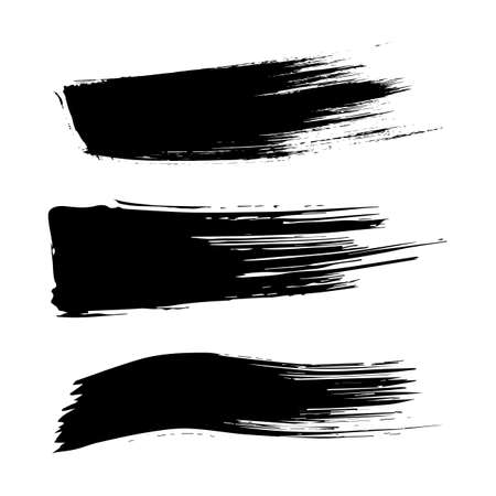 brush stroke: Set of ink brush stroke stains. Grunge Paint stripe. Distressed banner . Black isolated paintbrush collection.