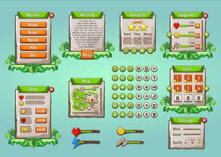 Game UI. Grafische gebruikersinterface in natuurlijke stijl. Universele multifunctioneel mobiel spelapparaat. Knoppen, pictogrammen, voorbeelden van schermen. Bewerkbare elementen voor uw ontwerp. Vector illustratie Stock Illustratie