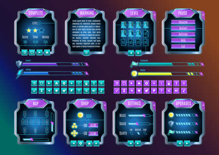 interface elements: Game UI. Space graphical user interface set. Mobile game appliance in colors of universe night sky. Futuristic outer space infographic elements. Buttons, icons, screens examples. Vector illustration