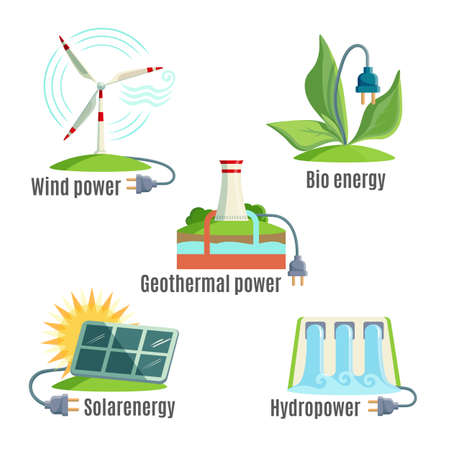 Alternative energy sources set. Wind. Geothermal power. Bio energy. Solar energy. Hydropower. Illustrations of windmills, plants, sun battery, water, thermal sources with plug Vector illustration