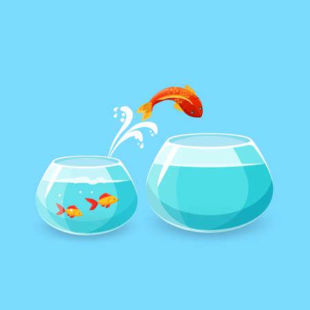 야망과 도전 개념입니다. 금붕어는 더 큰 빈 수족관으로 점프. 삶을 더 좋게 만들고 싶다. 물고기는 빈 그릇으로 탈출. 새로운 삶, 큰 기회. 플랫 스타일