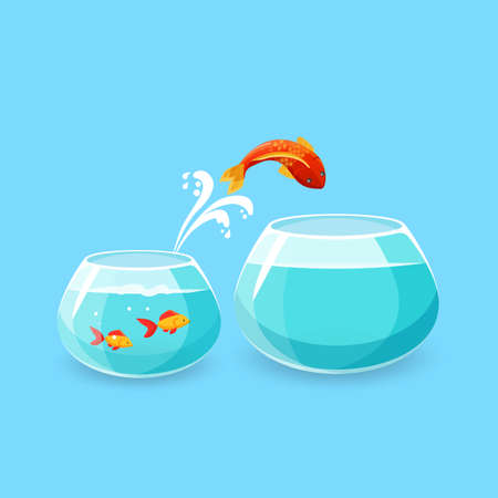chance: Ambition and challenge concept. Goldfish jumps into bigger empty aquarium. Desire to make life better. Fish escaping into empty bowl. New life, big opportunities. Flat style. Vector illustration.