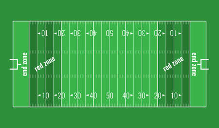 scrimmage: American football background. Vector grass textured American football field. Lines marked along ends and sides are end lines and sidelines, and goal lines are marked 10 yards inward from each end line