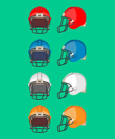 picked: American football helmet set. Piece of protective equipment used mainly in American football and Canadian football. Sport helmets collection of different colors. Flat style design. Vector illustration Illustration