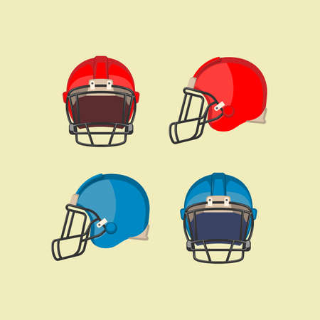 padding: American football red and blue helmets. Front and side view on football protective mask. Hard plastic shell with thick padding on inside, face mask made of metal bar, chinstrap. Vector illustration