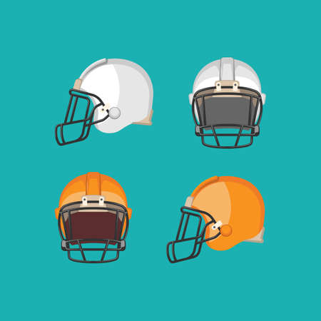 picked: American football white and orange helmets isolated on blue background. Front and side view on football protective mask. Ediable element. Modern soccer facemask. Sport equipment. Vector illustration Illustration