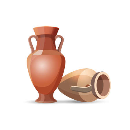 Amphora vase set isolated on white. Dark clay vases, one lies the floor. Two clay jars Egyptian style. Old traditional vintage pot. Ancient decorative element. Ceramics accessory. Greek style. Vector Illustration
