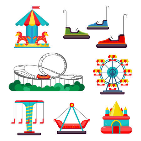 rollercoaster: Amusement park ride. Set of attractions. Merry-go-round, roundabout, carousel, turnaround, electric cars, observation wheel, rollercoaster, bouncy castle isolated on white. Vector illustration Illustration