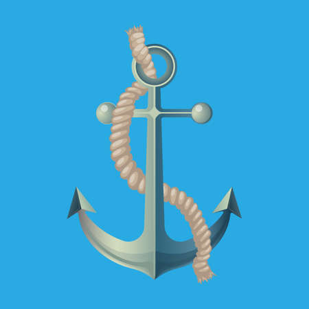 Anchor with rope vector illustration isolated on blue. Nautical anchor. Symbol of sailors, cruise, sail, ocean and sea. Travel design. Deep water anchor with rope marine icon element. Vector
