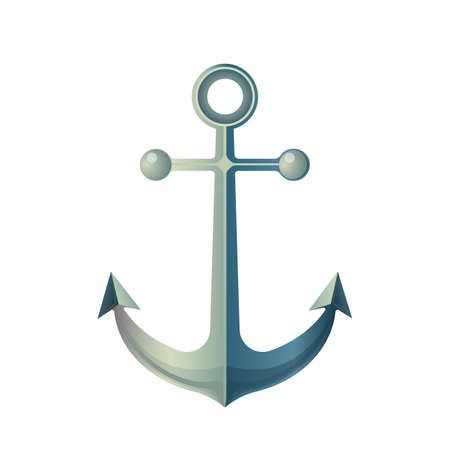 prevent: Anchor isolated on white. Made of metal device, used to connect vessel to bed of body of water to prevent craft from drifting due to wind or current. Marine anchor sign symbol in flat style. Vector