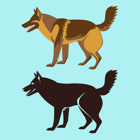 obedient: Alsatian dog silhouette isolated. German sheepdog, watchdog, guide, police dog. Medium to large-sized working dog. German Shepherd Dog. GSD illustration. Buddy dog side view. Home pet. Vector