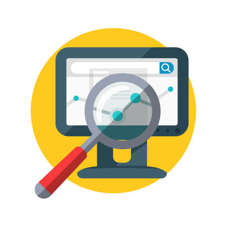 information analysis: SEO banner. Focused magnifying glass on chart on the monitor display. Data analysis, web construction, mobile applications. Research of information in network. Internet search, e-commerce, vector Illustration