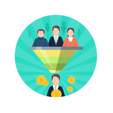 socializando: Destinatarios icono SEO estilo plano. La gente en la tribuna escuchan líder. La comercialización del negocio, la socialización, la investigación, el desarrollo personal. infografía gráfico social. analizar los datos. ilustración vectorial