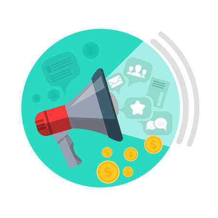 money button: SEO loud speaker web button. Messages, mails, people, chats, money come from speaker. Business marketing, infographic information, social chart, data development and research. Vector illustration