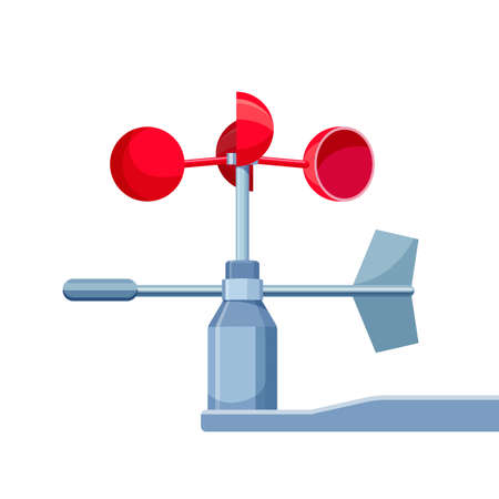 meteorological: Anemometer isolated on white. Device used for measuring wind speed, common weather station instrument. Describe any wind speed measurement instrument. Used in meteorology. Vector illustration