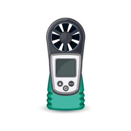 gust: Digital handheld anemometer isolated on white. Wind speed meter, pocket sized for outdoor enthusiasts. For hang gliding, kite surfing, kite flying, sailing, surfing, paragliding and shooting. Vector Illustration