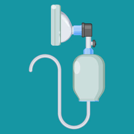 Anesthesia icon. Resuscitator symbol. Breathing bag Ambu face mask. Bag valve oxygen mask. Manual resuscitator or self-inflating bag, used to provide positive pressure ventilation to patients. Vector Иллюстрация