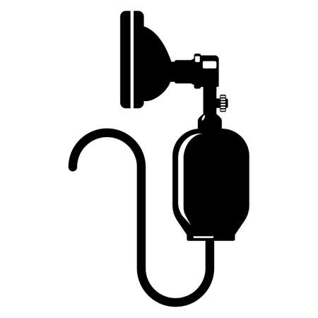 critical care: Anesthesia icon silhouette isolated on white. Bag valve mask, Ambu bag. Provide pressure ventilation to not breathing patients. Standard medical equipment in emergency rooms, critical care settings.