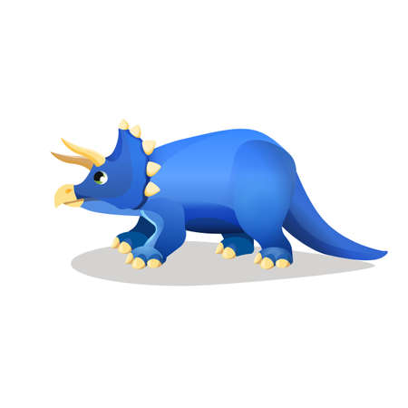 spiked: Styracosaurus, spiked lizard isolated on white. Herbivorous dinosaur with horns from Cretaceous Period. Dinosaurs character monster, prehistoric animal. Sticker. Cartoon creature. Vector illustration