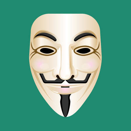 vendetta: Anonymous mask isolated on green. Mask of man with moustache and beard in imperial style. Eyes are hollow. Mysterious person masque. Incognito concept. Vendetta carnival mask. Vector illustration