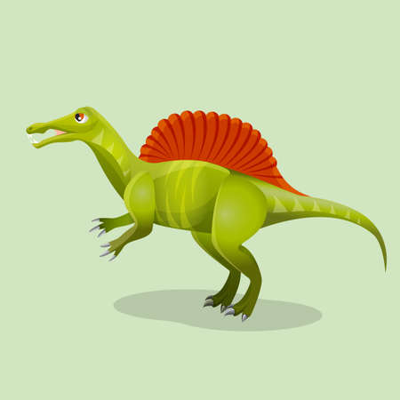 existed: Iguanodon, iguana-tooth isolated. Ornithopod dinosaur existed in ancient times. Dinosaurs character monster, prehistoric animal. Sticker for children. Funny cartoon creature. Vector illustration