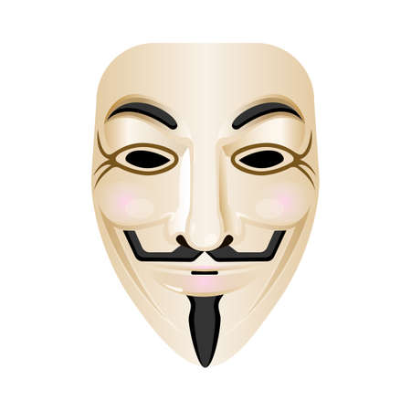 vendetta: Hacker mask vector icon isolated on white. Stylised portrayal of face with smile and red cheeks, wide moustache upturned at both ends, thin vertical pointed beard. Carnival masque of mystery person
