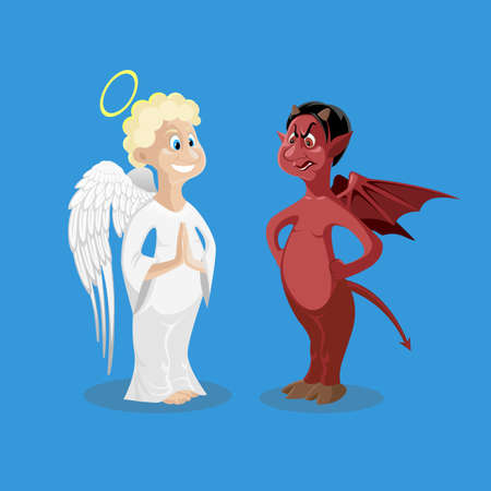 Religion characters on blue. Blond curly hair smiling angel in white cloth with wings. Cruel devil with dark skin, skeptic face, demon wings. Figure icons of good and wicked personages. Vector
