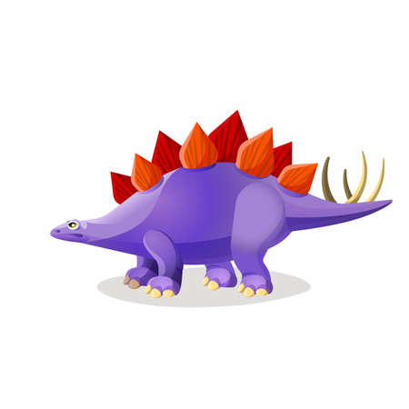 Stegosaurus isolated on white. Genus of armored dinosaur of late Jurassic period. Dinosaurs character monster, prehistoric animal. Sticker for children. Funny cartoon creature. Vector illustration