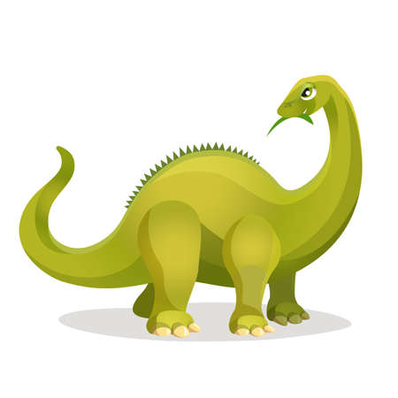 genus: Diplodocus isolated on white. Extinct genus of diplodocid sauropod dinosaurs. Dinosaurs character monster, prehistoric animal. Sticker for children. Funny cartoon creature. Vector illustration Illustration