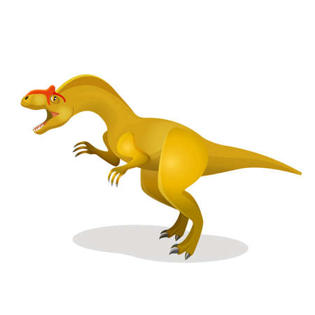 Allosaurus, differen lizard isolated on white. Large theropod lived during late Jurassic period. Dinosaurs character monster, prehistoric animal. Sticker for children. Funny cartoon creature. Vector T-Rex Illustration