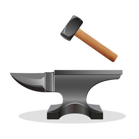 struck: Anvil icon with hammer isolated on white. Block with hard surface on which another object is struck. Massive smith s hammer. Used as a forging tool. Primary tool of metal workers. Vector illustration