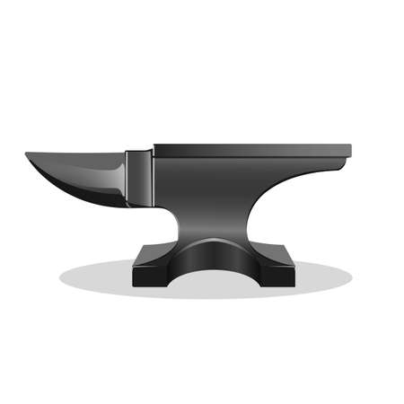 anvil: Anvil simple icon isolated on white. Single horn anvil. Iron working instrument. Craftsmanship concept. Web site page and mobile app design element. Blacksmith industry device. Vector illustration