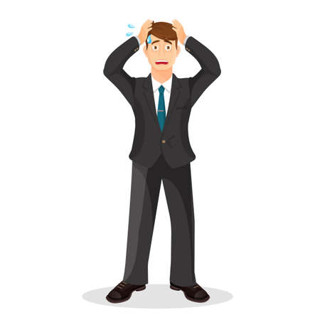 anxious: Anxiety person cartoon illustration. Anxious and sad young man clutching head his hands with beads of sweat on his face. Headache pain. Worried, depression sign. Loser. Tired, upset person. Vector Illustration