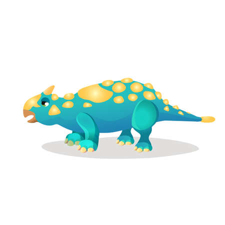 isoated: Thrinaxodon isoated on white. Extinct genus of cynodont. Dinosaurs character monster, prehistoric animal. Sticker for children. Funny cartoon creature. Small type of dinosaur. Vector illustration