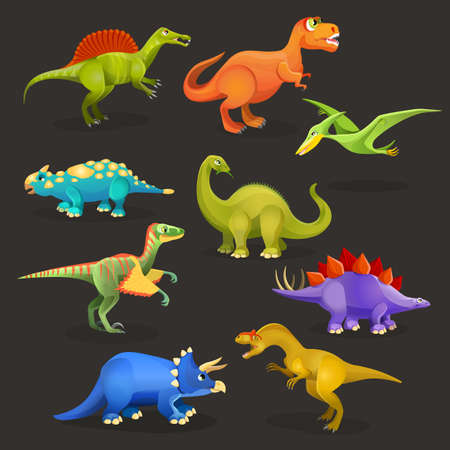 diplodocus: Set of various dinosaurs of Jurassic period. Funny cartoon creatures for children book illustration. Monster character stickers for kids. Dino family, prehistoric animals and birds collection. Vector