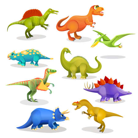 Tyrannosaurus lesothosaurus styracosaurus iguanodon stegosaurus diplodocus allosaurus thrinaxodon archaeopteryx pteradonan dinosaurs set. Collection of prehistoric animal habitants. Vector Illustration