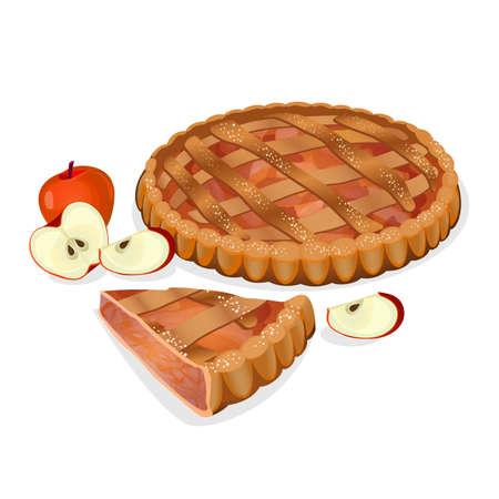 Appeltaart met fruit, geïsoleerde gesneden slice. Traditionele eigengemaakte smakelijke taart. Apple elementen in de buurt. Verse bakkerij. Principal vullen ingrediënt appel. Gebakken zoete koken. vector illustratie