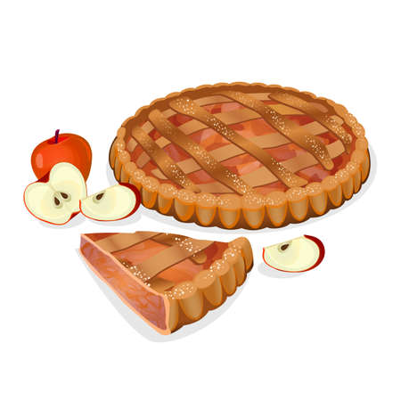 Apple pie with fruits, cut slice isolated. Traditional homemade tasty cake. Apple elements nearby. Fresh bakery. Principal filling ingredient is apple. Baked sweet cooking. Vector illustration Illustration