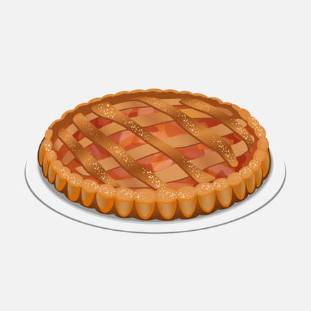 white sugar: Whole apple pie on the plate isolated on white background. Served with whipped cream or ice cream on top, sugar powder. Apple strudel, pie-like dish made with dough, apples, sugar and spices. Vector